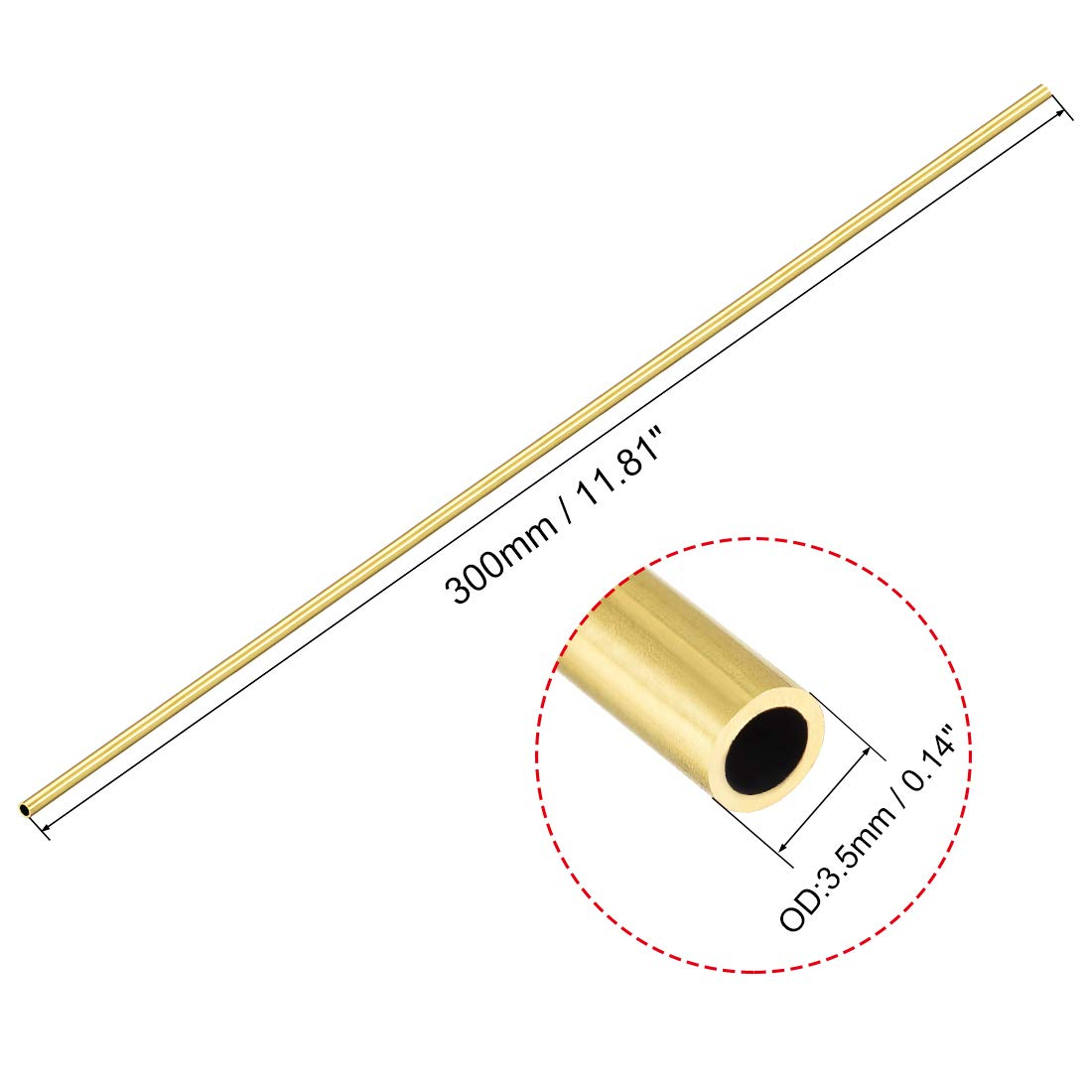 uxcell Brass Round Tube 300mm Length 3.5mm OD 0.5mm Wall Thickness Seamless Straight Pipe Tubing 2 Pcs