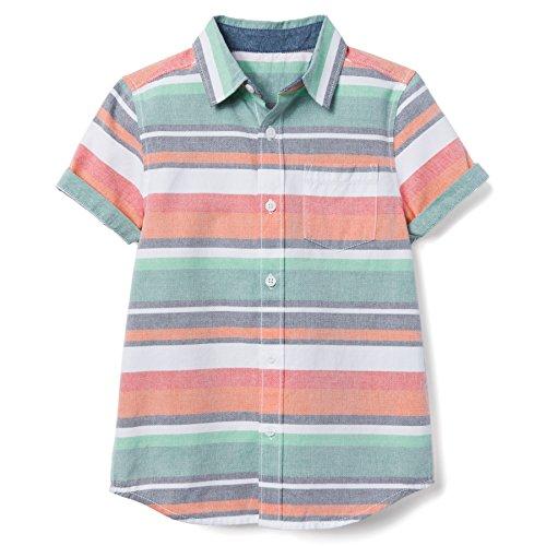 Gymboree Boys' Little Short Sleeve Button Down Woven Shirt, Sunwashed Green Stripe S ()