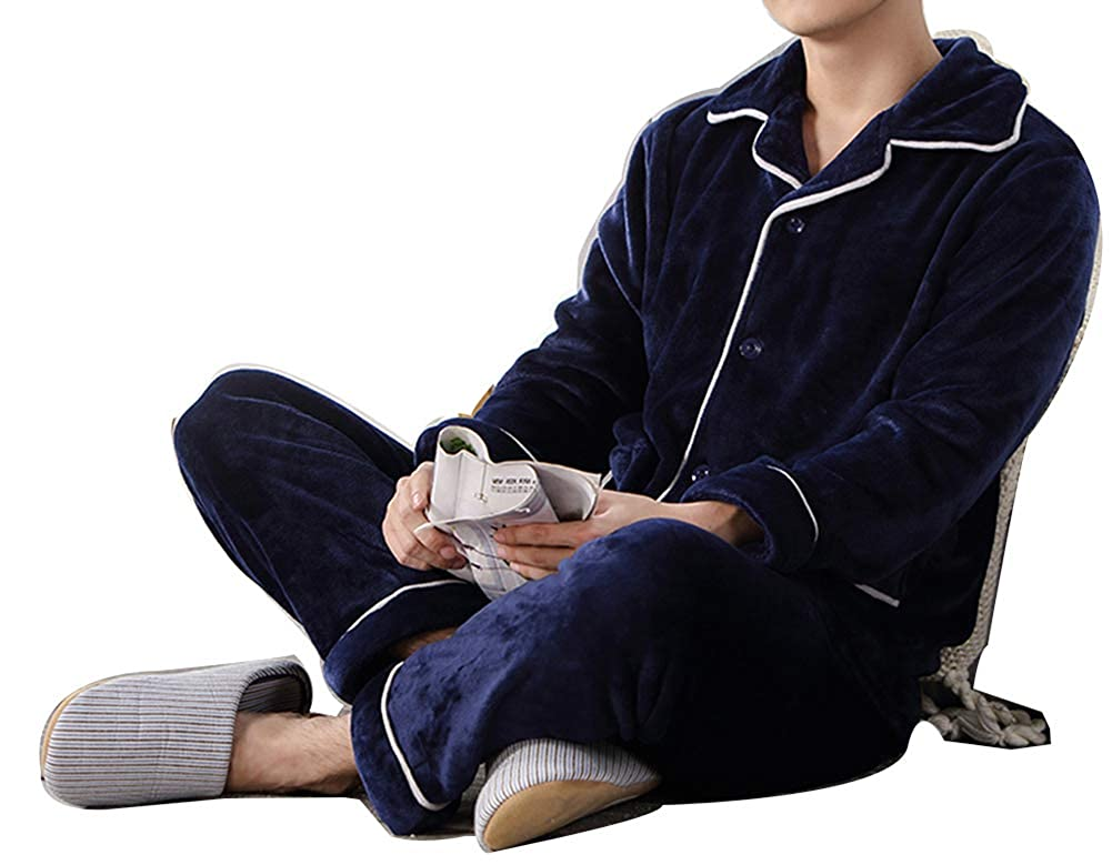 RESPEEDIME Middle-Aged Mens Flannel Pajamas Long-Sleeved Thick Warm Home Service