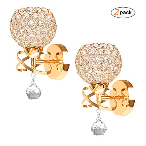 DDSKY 2-Pack Modern Luxury Crystal Wall Sconce Lighting Fixuture Ultra Bight Crystal Wall Light E14 Scoket for Bedroom Home (Gold) -