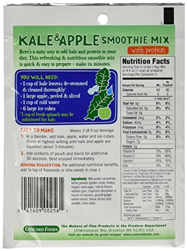 Concord Foods Kale & Apple Smoothie Mix with Protein (Pack of 6 ) 1.11 oz Packets