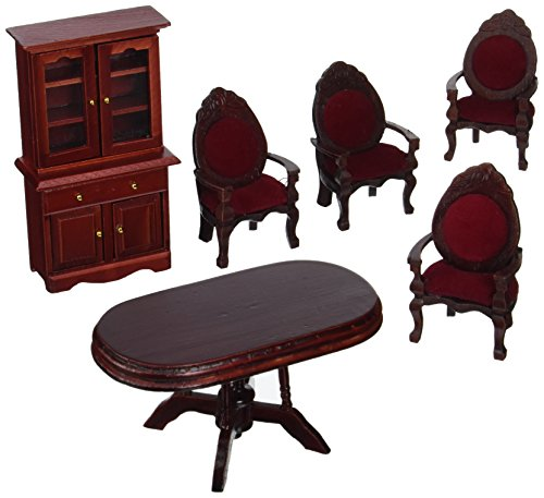 Melissa & Doug Classic Wooden Dollhouse Dining Room Furniture (6 pcs) - Table, Armchairs, (Dining Room Furniture)
