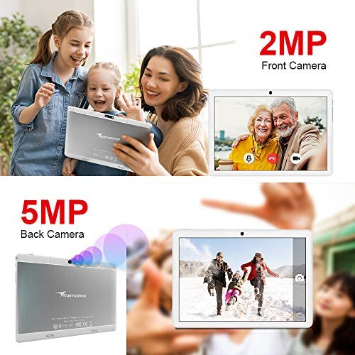 Tablet 10 Inch Android 9 HD Dual Sim Tablets with Quad Core, 32GB ROM /128 GB Expand, 3G Phone Call, WiFi, Bluetooth, Dual Camera, GPS, IPS Touchscreen, GMS Google Certified Tablet PC, (White)