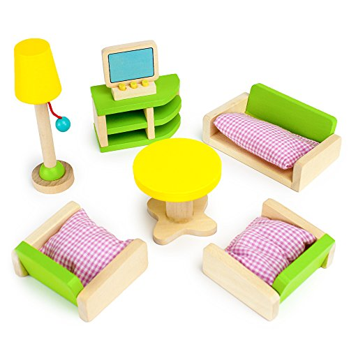 Imagination Generation Wooden Wonders Luxurious Living Room | Colorful Assorted Dollhouse Furniture and Accessories Set (10pcs) Critter House Room Furniture