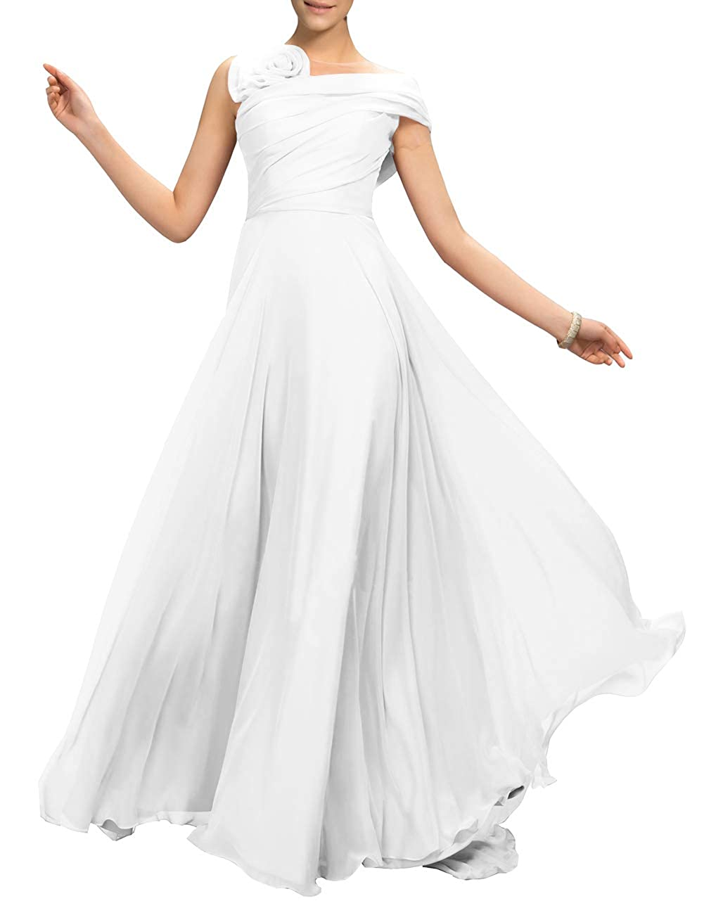 White Uther Flower Long Prom Dress ALine Bridesmaid Dresses Formal Evening Party Gown