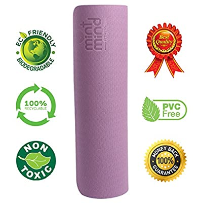 Mint Mind Fitness 1/4-Inch Extra Thick 72-Inch Extra Long Environmentally Friendly TPE Exercise Yoga Mat with Carrying Strap
