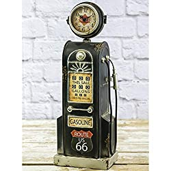 Hanna's Handiworks Vintage Gas Pump Table Clock with Intentional Rustic Look & Made of Metal