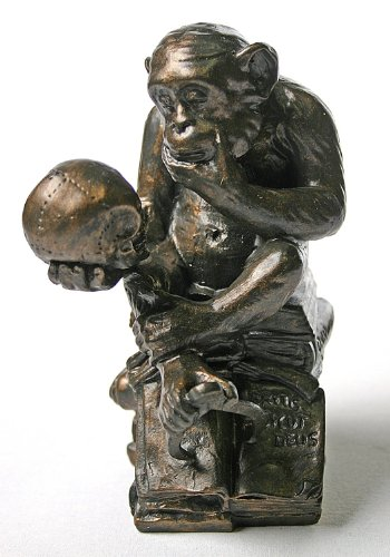 Monkey with Skull Statue (1892-93) by Rheinhold (Skull Replica Ape)