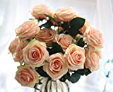 SEEYANG Roses Artificial Flowers 10 Heads Bouquet, Silk Fake Flowers Vintage Décor for Wedding, Home, Party (Champers)