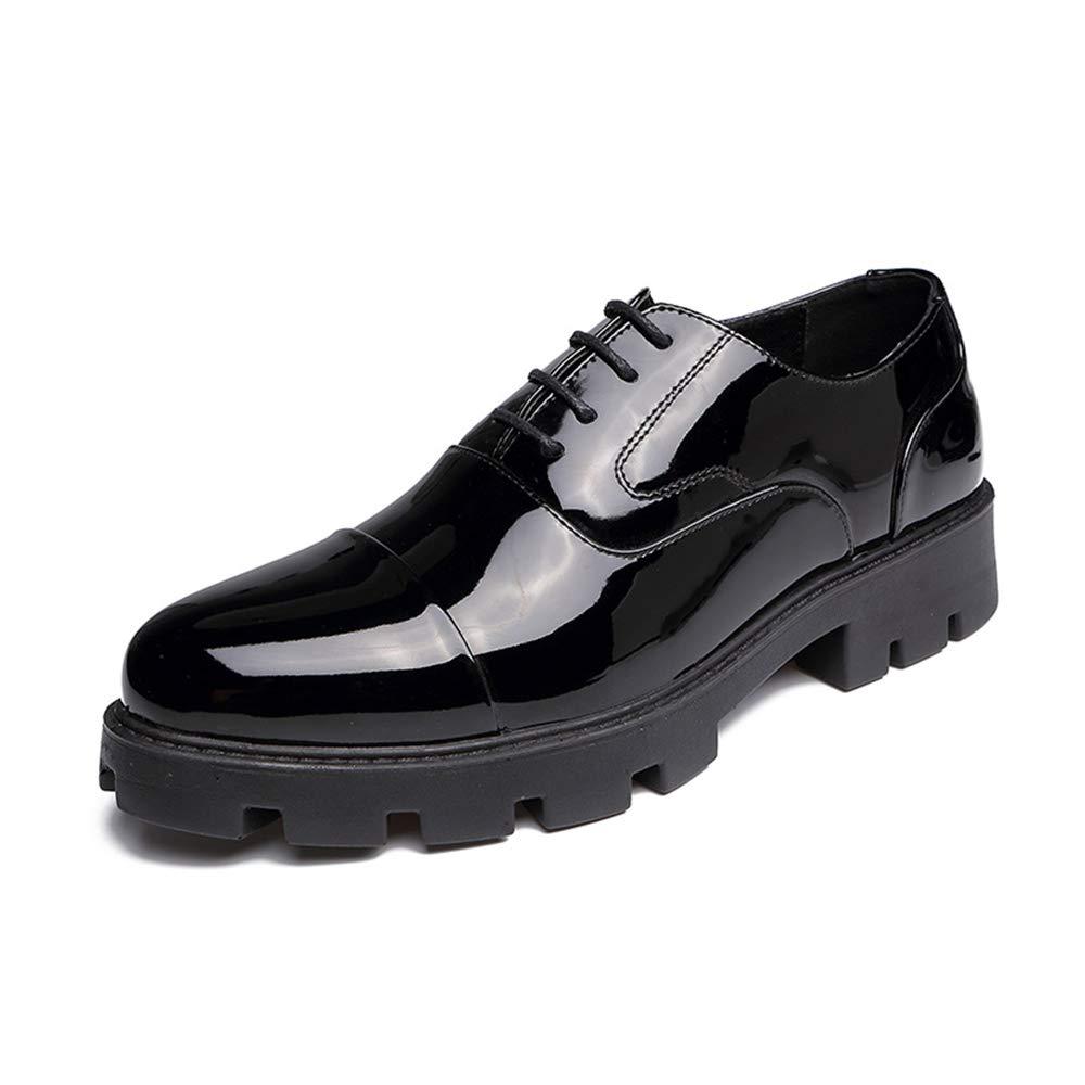 TALLA 42 EU. Yajie-Shoes, Zapatos Oxford para Hombres, Punta Redonda Informal con Charol, Parte Inferior Gruesa, con Cordones y Zapatos Formales (Color : Negro, tamaño : 42 EU)