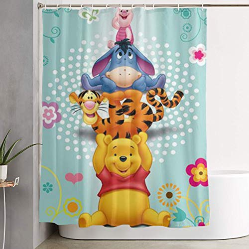 LYULIAN Winnie The Pooh with Hook Stylish Shower Curtain Printing Waterproof Bathroom Curtain 60 X 72 Inches
