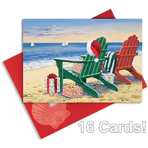 16 Embellished Christmas Cards and Envelopes, Red & Green -