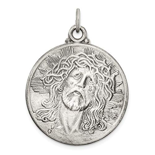 925 Sterling Silver Ecce Homo Medal Pendant Charm Necklace Religious Jesus Fine Jewelry Gifts For Women For Her]()