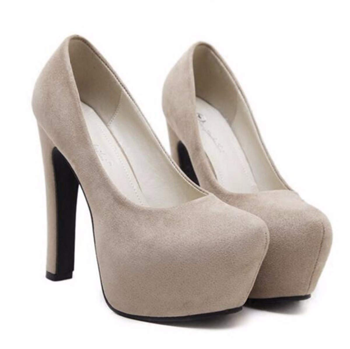 GTVERNH Damenschuhe Mode 14 cm Hochhackigen Schuhe Rau und Runde Nur Schuhe Sexy Tiefe Wasserdicht Plattform Wildleder.