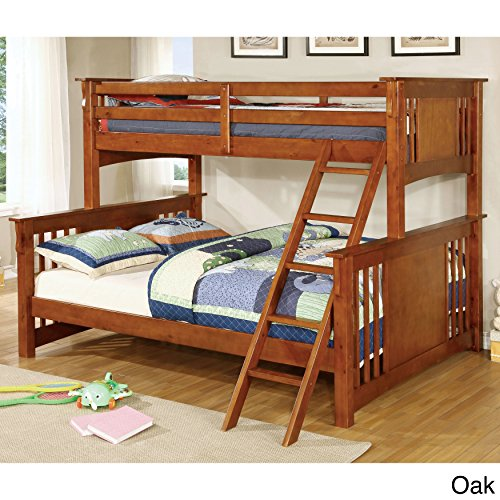 Furniture of America Solid Wood Mission Style Junior Twin XL over Queen Bunk Bed White White Finish