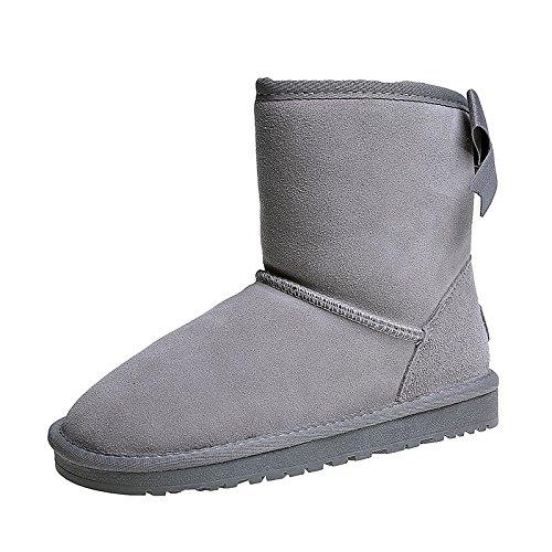 HSXZ Zapatos de mujer PU Nieve del invierno botas botas Botas de puntera redonda plana Mid-Calf Bowknot para vestimenta casual Negro Gris Beige Rosa Gray