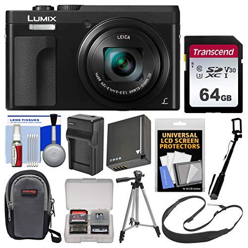 (Panasonic Lumix DC-ZS70 4K Wi-Fi Digital Camera (Black) with 64GB Card + Case + Battery & Charger + Selfie Stick + Tripod + Strap + Kit)