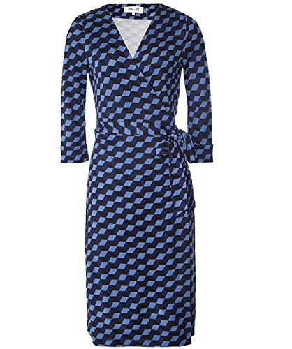 Wrap Dress Dvf Silk (Diane von Furstenberg Women's Silk New Julian Jersey Wrap Dress Blue US 6)