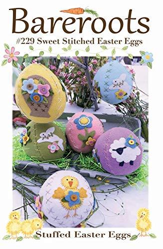 Sweet Stitched Easter Eggs Wool Applique Pattern, Wool Felt & Floss kit by Bareroots #229K - Stuffed Easter Eggs - Wool Stitched