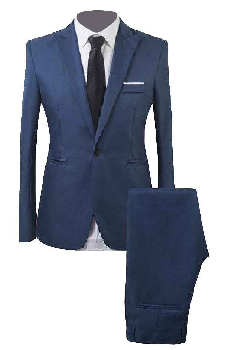 QUHS Mens Button 2 Piece Set Solid Lounge Lapel Pocket Suit Jacket Blazer Coat