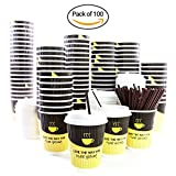 Disposable Coffee Cups 12oz By GVPLLC: Paper Cups With Lids And Stirring Straws, Double Walled Leak-Proof Design For Hot Beverages To Go, For Tea ,Chocolate, Cappuccino and more.(Pack Of 100)