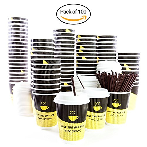 Disposable Coffee Cups 12oz By GVPLLC: Paper Cups With Lids And Stirring Straws, Double Walled Leak-Proof Design For Hot Beverages To Go, For Tea ,Chocolate, Cappuccino and more.(Pack Of 100) by GVPLLC