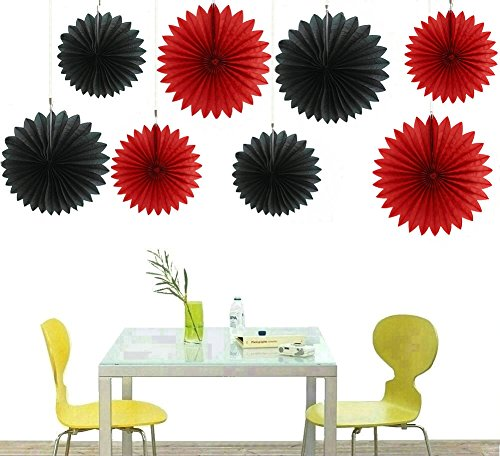 zorpia Decorative Fan - Tissue Paper Fan Collection - Assorted Fans of 10, 16-Inch, 8 Pieces, Assorted Colors ()