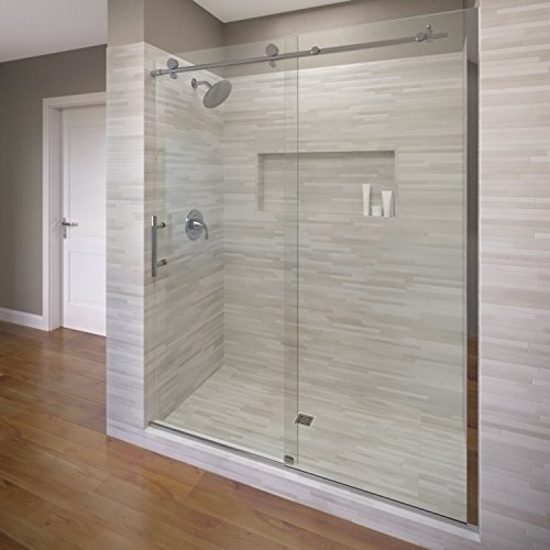 (Basco Vinesse Frameless Sliding Shower Door, Fits 45-47 in. Opening, AquaGlideXP Clear Glass, Chrome Finish)