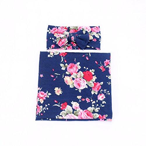 Galabloomer Newborn Receiving Blanket Headband Set Flower Print Baby Swaddle Receiving Blankets Navy Blue ()