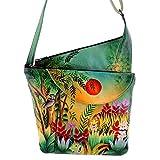 Anushcka Asymetric Slim Crossbody Bag Handpainted Leather (Rousseau's Jungle)