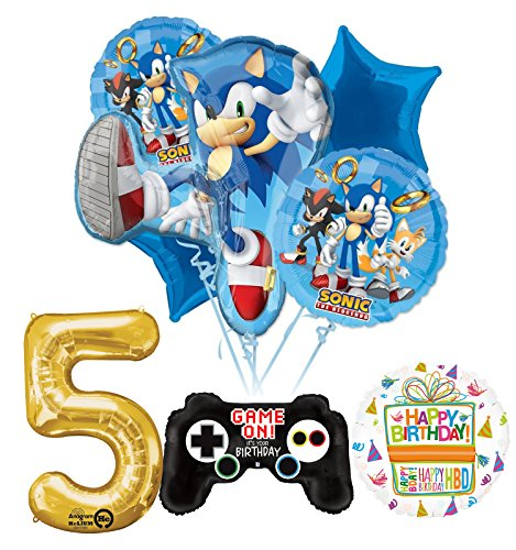 Mayflower Products The Ultimate Sonic The Hedgehog 5th Birthday Party Supplies and Balloon Decorations -