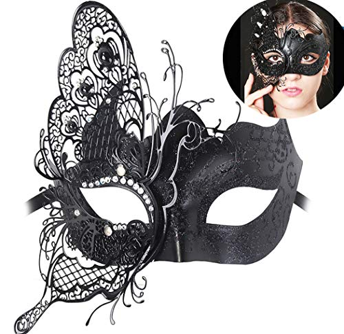 Masquerade Mask Venetian Butterfly Shiny Metal Mardi Gras Mask Multicolor (One size, Black) ()