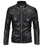 Elonglin Mens Faux Leather Punk Jacket Moto Coat Black US XS (Asian M)