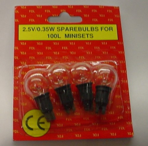 4 Push In Spare Bulbs for 100 Piece Berry Light Set 2.5v 0.35w 0.14a CLEAR (S19) FDL