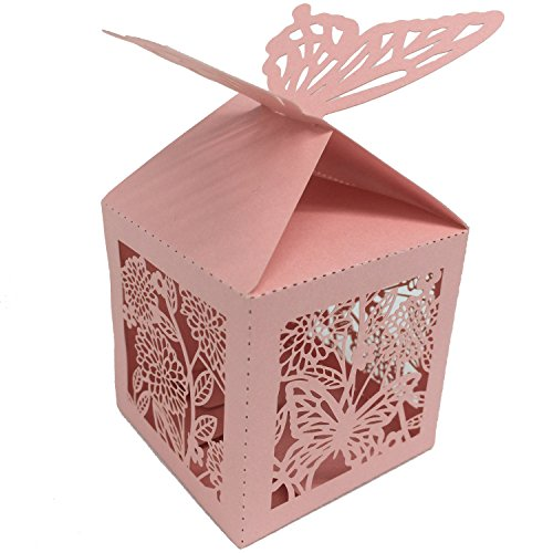 50 Pack Laser Cut Butterfly Wedding Favor Box Birthday Sh...