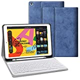JUQITECH Keyboard Case 10.2 inch for iPad 7th Generation 10.2 2019 iPad 7th Gen, Auto Sleep/Wake Detachable Wireless Bluetooth Keyboard Magnetic Smart Case Cover with Built-in Pencil Holder, Blue