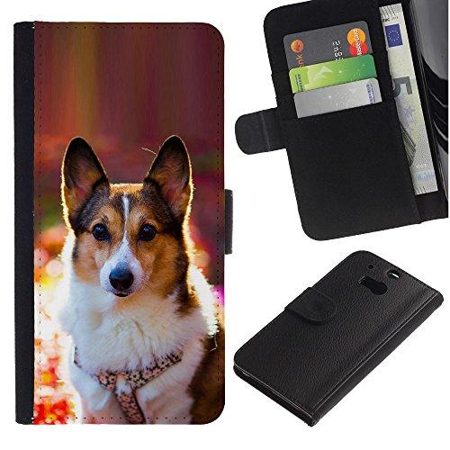 EuroCase - HTC One M8 - corgi rembroke welsh cardigan dog - Cuero PU Delgado caso cubierta Shell Armor Funda Case Cover