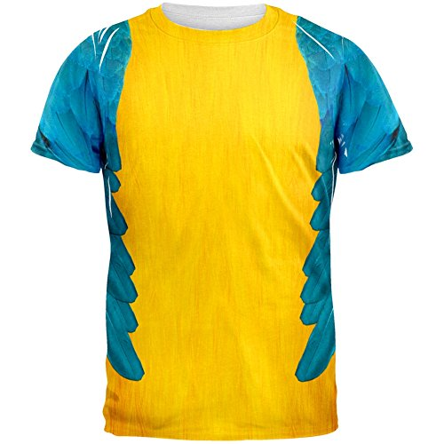 Animal World Halloween Blue & Yellow Parrot Macaw Costume All Over Adult T-Shirt - -