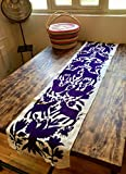Purple Otomi table runner, hand embroidered by the Otomi from Mexico 42 x 186/ 16.5x73''