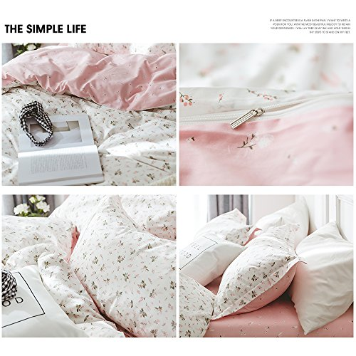 HIGHBUY Floral Printed Kids Duvet Cover Set Full Cotton Pink for Girls Reversible Garden Style Bedding Sets Queen with Zipper Closure for Children Comforter Covers Lightweight Soft by HIGHBUY (Image #5)
