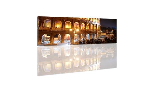 Bilderdepot24 Bastidor Imagen - Cuadros en Lienzo Coliseo en la Noche 90x30cm 3 Partes (Panorama) - Made in Germany!: Amazon.es: Hogar
