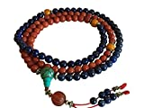 Tibetan Mala Lapis and Coral 108 Beads for Meditation
