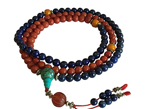 Tibetan Mala Lapis and Coral 108 Beads for Meditation by Hands Of Tibet