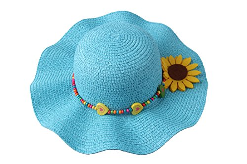 - Dantiya Kids 4 Colors Large Brim Flower Beach Sun Hats for Girls, Blue, Free Size
