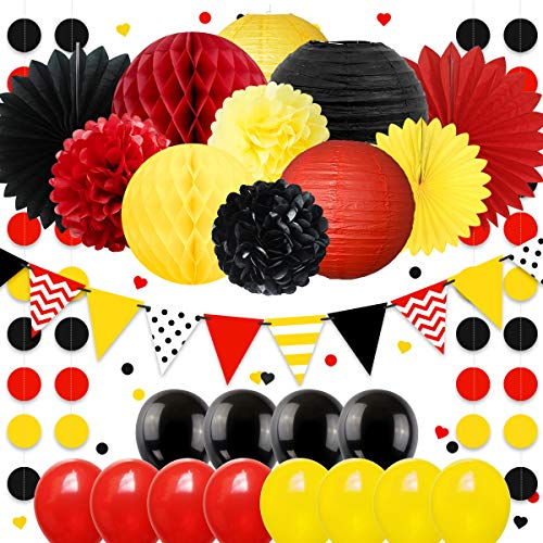 NICROLANDEE Mickey Mouse Party Decorations Kit Red Black Yellow Mickey Colors Fireman Theme Honeycomb Balls Paper Pom Poms Lantern Fan Balloon and Garland Banner for Baby Shower Birthday Nursery -