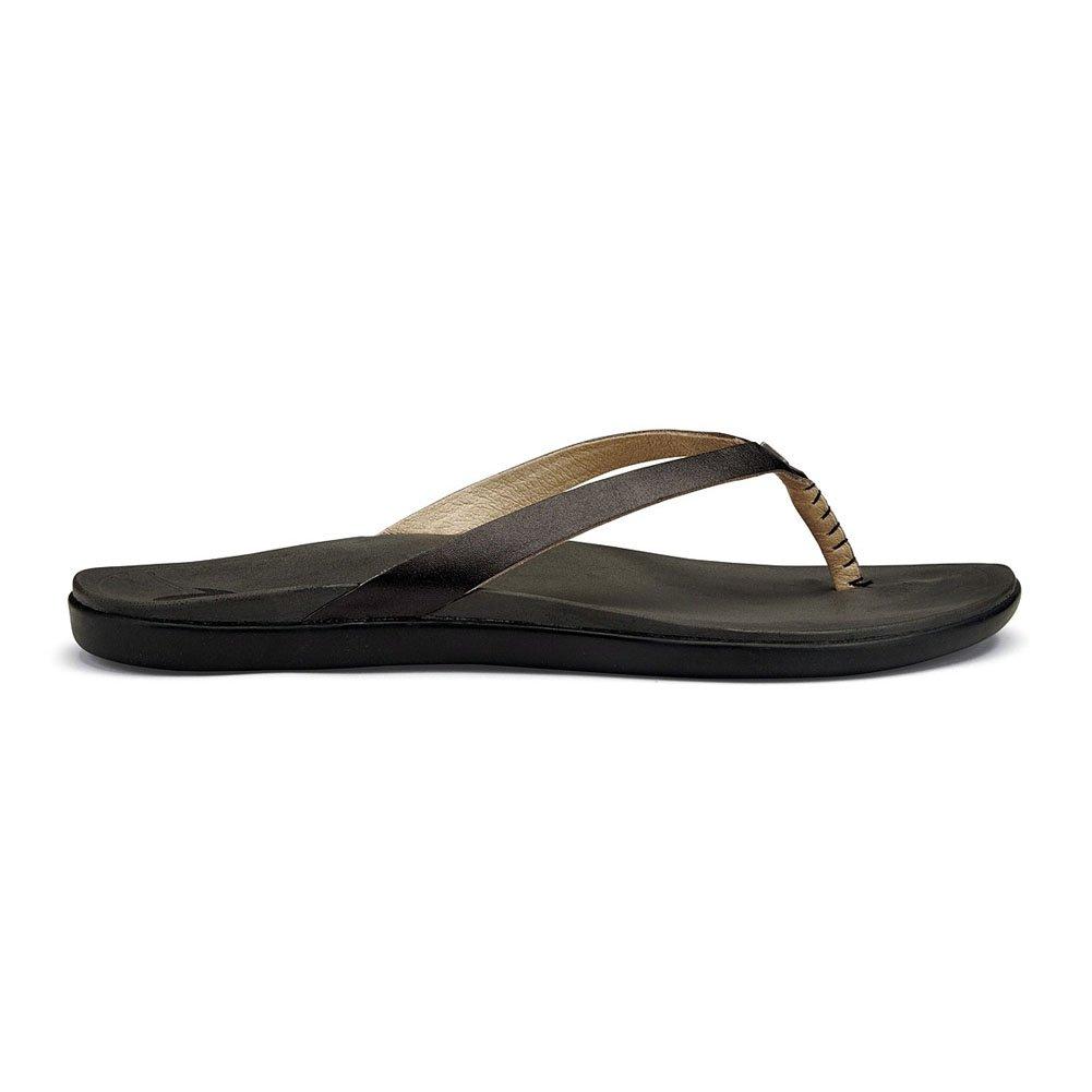 Onyx   Black OluKai Ho'opio Leather Sandal - Women's