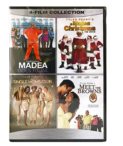 Tyler Perry 4 Film Collection DVD - Madea Goes to Jail / A Madea Christmas / Single Moms Club / Meet the Browns - New Movies Set (Tyler Perrys Single Moms Club)