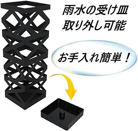 アイホーム(Ihome) 傘立て K3 k31 白 本体: 奥行16cm 本体: 高さ49.5cm 本体: 幅16cm 傘立て本体、受け皿、フック×2