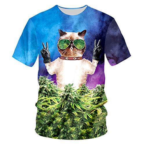 (T Shirts Male Short Sleeve Animal 3D Tshirt Printed Sunglasses Spring T-Shirt Sunglasses Cat S )
