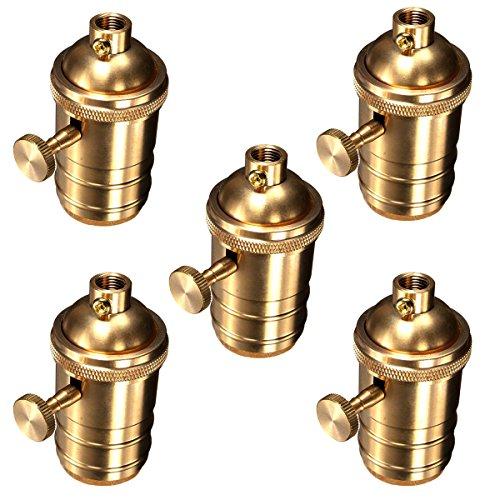 Museum Bronze Outdoor Sconce (Motent Industrial Retro Knob Light Socket Lamp Holder for Edison E26 E27 Screw Bulb Base - Copper (5pcs / Lot))